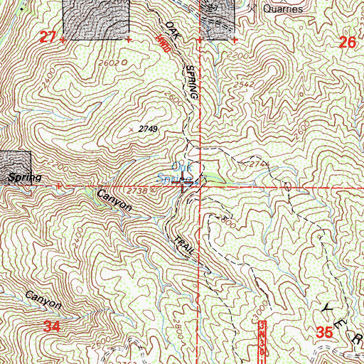 Topographic Map of Oak Spring, CA