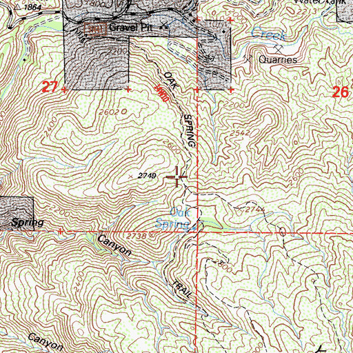 Topographic Map of Oak Spring Trail, CA