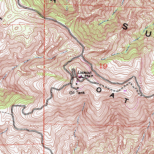 Topographic Map of Oat Mountain, CA