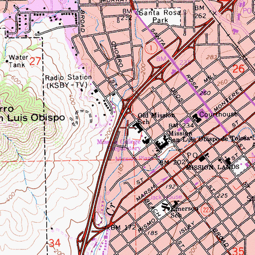 Topographic Map of Old Mission School, CA