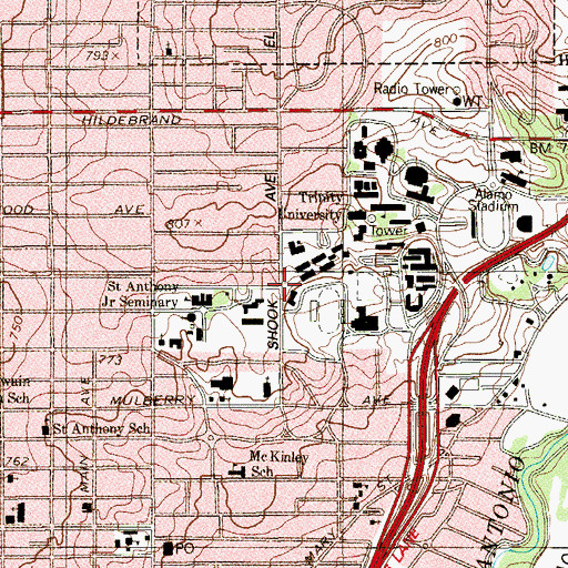 Topographic Map of Thomas Residence Hall, TX