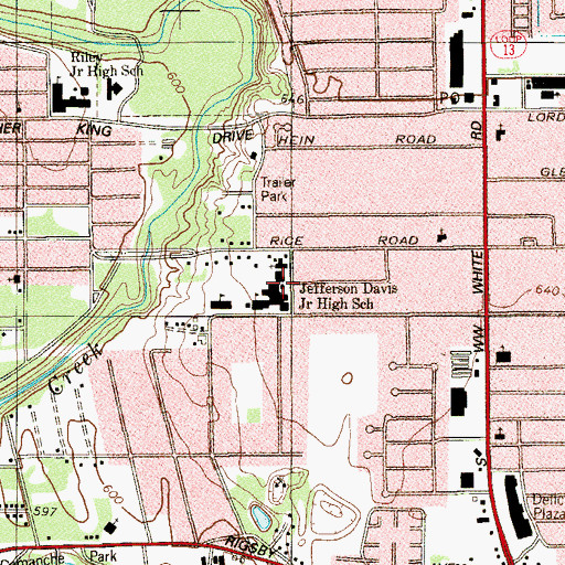 Topographic Map of Houston Terrace Baptist Church, TX