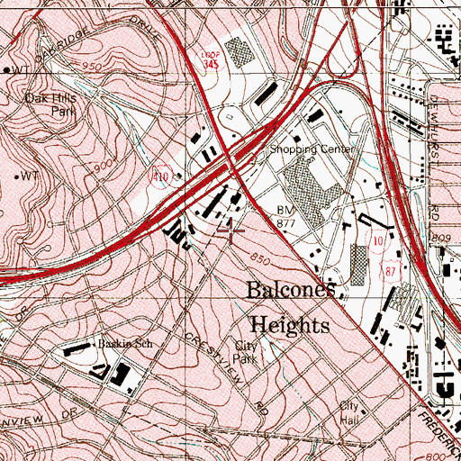 Topographic Map of Balcones Heights City Police Department, TX