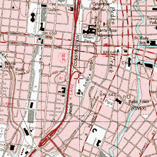 Topographic Map of Girls and Boys Town Shelter of San Antonio, TX
