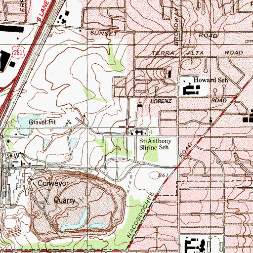 Topographic Map of Saint Anthonys Convent, TX