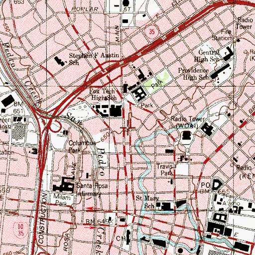 Topographic Map of San Antonio Central Library, TX