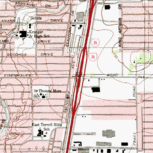 Topographic Map of Interchange 163, TX