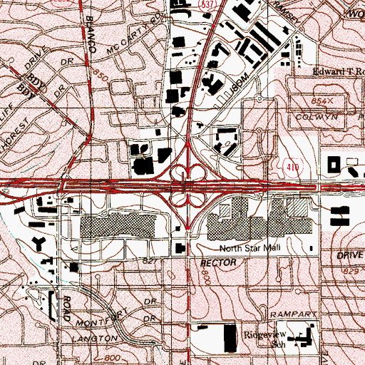 Topographic Map of Interchange 20, TX