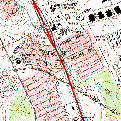 Topographic Map of Interchange 3A, TX