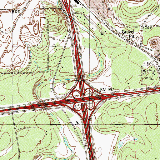Topographic Map of Interchange 556A, TX