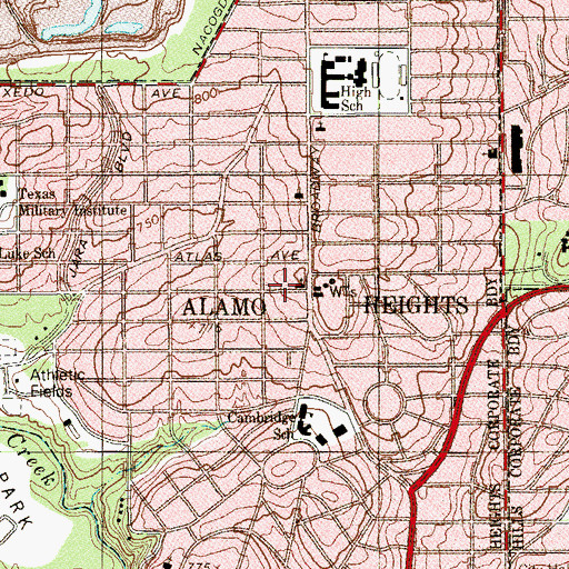 Topographic Map of Alamo Heights Presbyterian Day School, TX