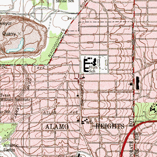 Topographic Map of Christ Lutheran Church of Alamo Heights School, TX