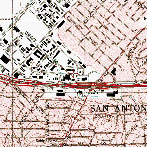 Topographic Map of Concordia University at San Antonio, TX