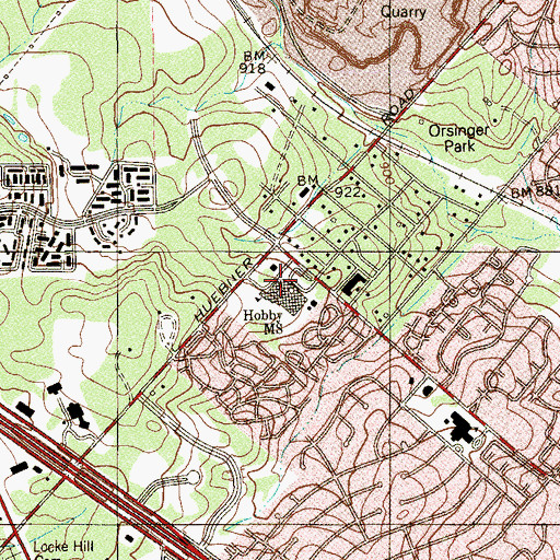 Topographic Map of Hobby Middle School, TX