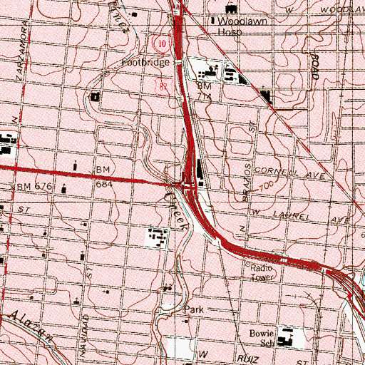 Topographic Map of Interchange 568, TX