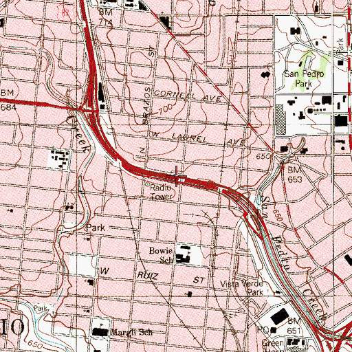 Topographic Map of Interchange 569, TX