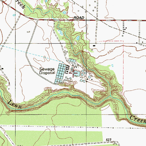 Topographic Map of Leon Creek Water Resources Complex, TX