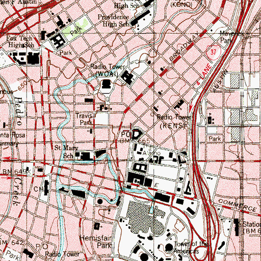 Topographic Map of Downtown San Antonio Post Office, TX