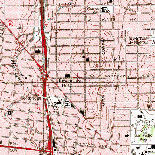 Topographic Map of Marcha Methodist Church, TX