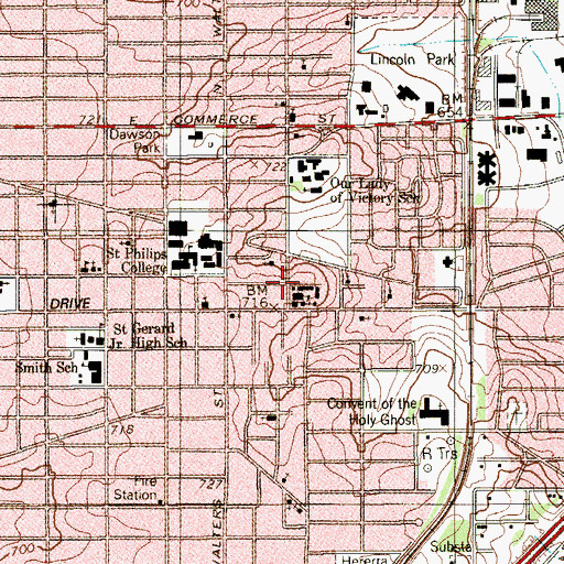 Topographic Map of Our Lady of Perpetual Help Church of San Antonio, TX
