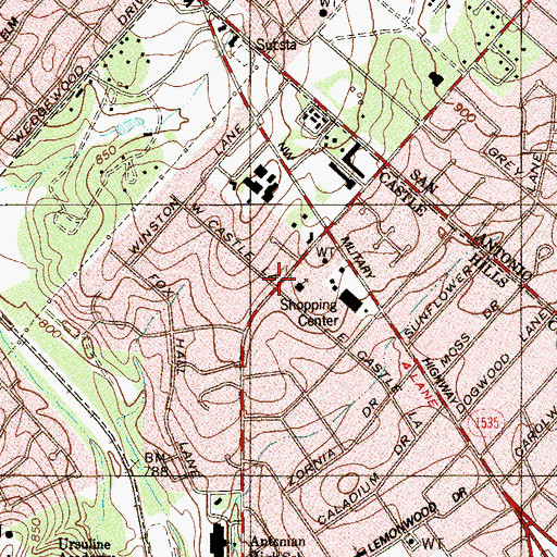 Topographic Map of Saint George Episcopal Church, TX