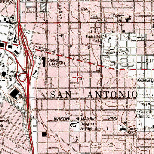 Topographic Map of Saint Josephs African Methodist Episcopal Church, TX