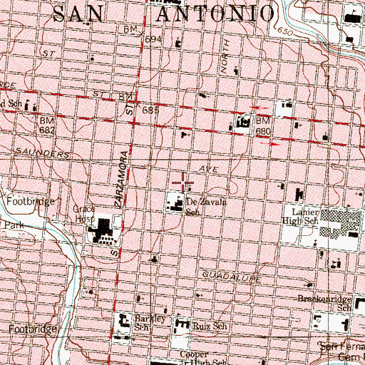 Topographic Map of Seventh Day Adventist Church Spanish, TX