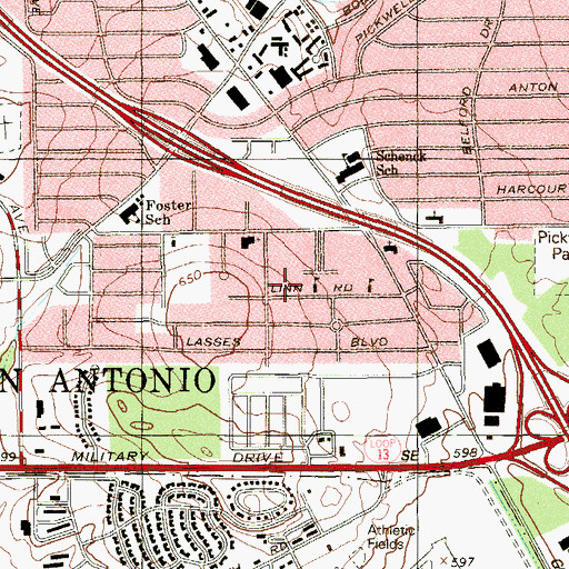 Topographic Map of Templo Puerta del Cielo New Jerusalem, TX