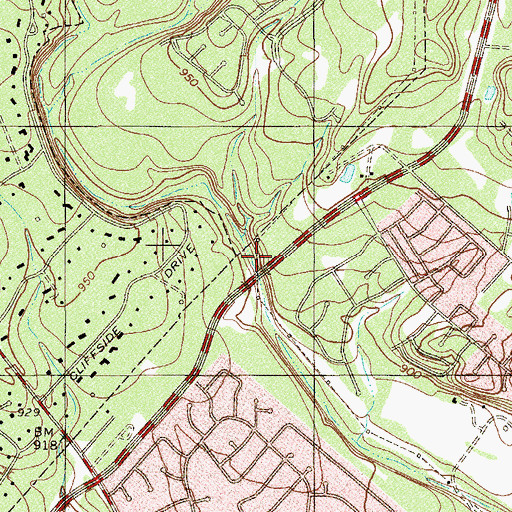 Topographic Map of Woodland Baptist Church, TX