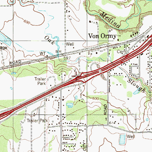 Topographic Map of Interchange 141, TX