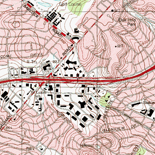 Topographic Map of Interchange 14B, TX