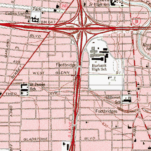 Topographic Map of Interchange 152B, TX
