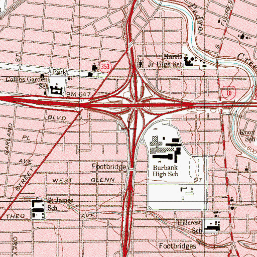 Topographic Map of Interchange 153, TX
