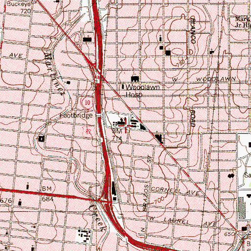 Topographic Map of Saint Anns Religious Education Center, TX