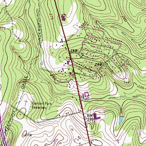 Topographic Map of Calvary Baptist Church, TX