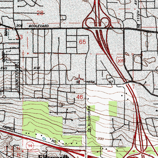 Topographic Map of Chinese Evangelical Church of Vancouver, WA