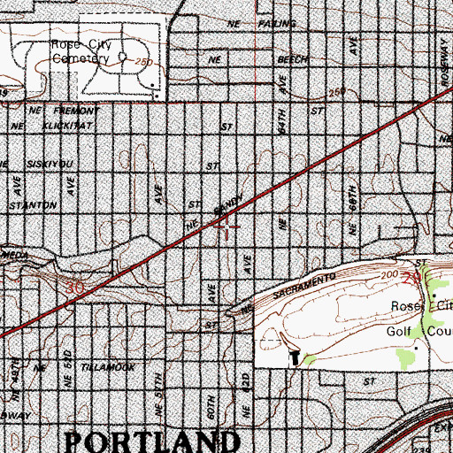 Topographic Map of Faith Lutheran Church, OR