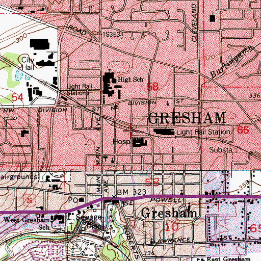 Topographic Map of Gresham Central Transit Center, OR