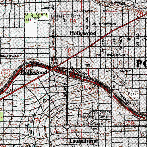 Topographic Map of Hollywood / Northeast 42nd Avenue Transit Center, OR