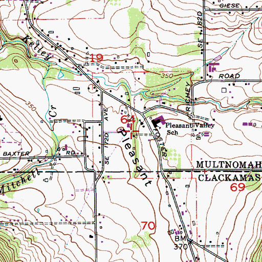 Topographic Map of Pleasant Valley Community Baptist Church, OR