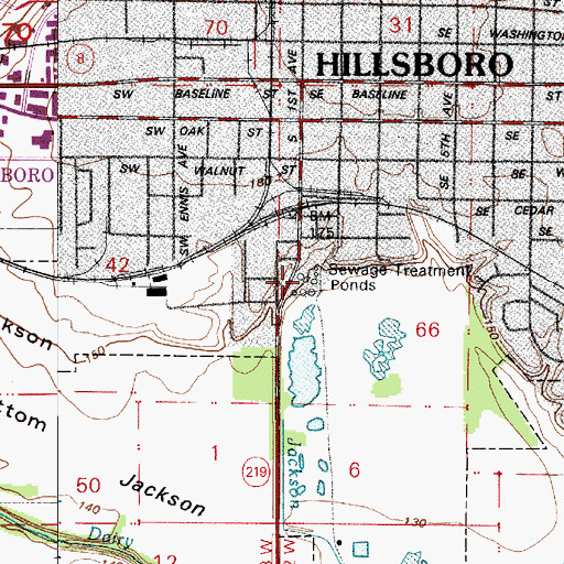 Topographic Map of Hillsboro Wastewater Treatment Facility, OR