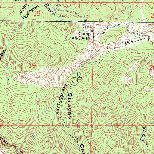 Topographic Map of Rattlesnake Trail, CA