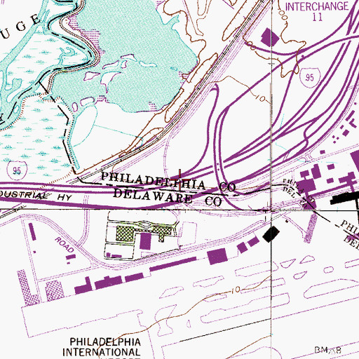 Topographic Map of Interchange 12, PA