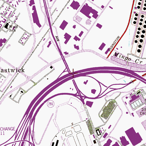 Topographic Map of Interchange 13, PA