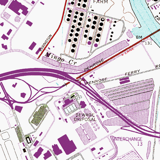 Topographic Map of Interchange 14, PA