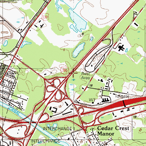 Topographic Map of Interchange 2A, NJ