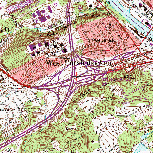 Topographic Map of Interchange 331A and 331B, PA