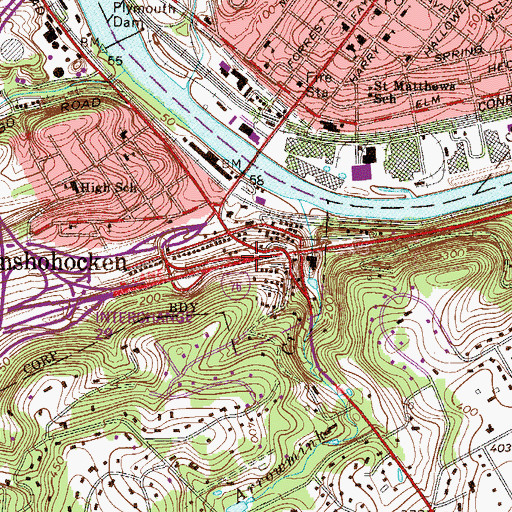 Topographic Map of Interchange 332, PA