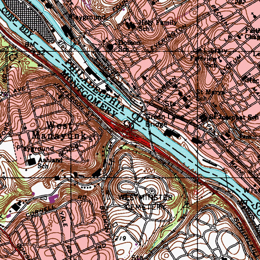 Topographic Map of Interchange 338, PA