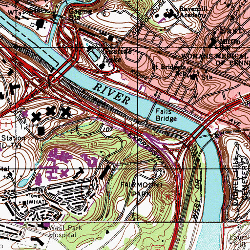 Topographic Map of Interchange 340A, PA